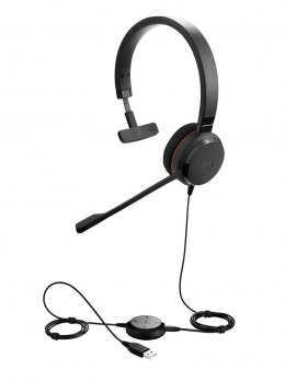 Jabra EVOLVE 30 II MS Mono USB Headband, Noise cancelling, USB and 3.5 connectivity, with mute-button and volume control on the