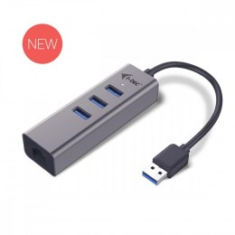 USB 3.0 Metal 3-portowy HUB z adapterem Gigabit Ethernet