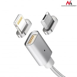 Maclean Kabel lightning USB magnetyczny silver MCE161- Quick & Fast Charge