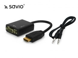 SAVIO CL-23 Adapter HDMI (M) - VGA 15 pin (F) z dźwiękiem (jack 3,5mm), blister