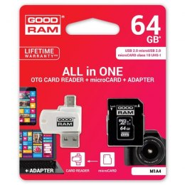 Goodram All-In-ONe, 64GB, multipack, M1A4-0640R12, UHS-I U1 (Class 10), z czytnikiem i adapterem